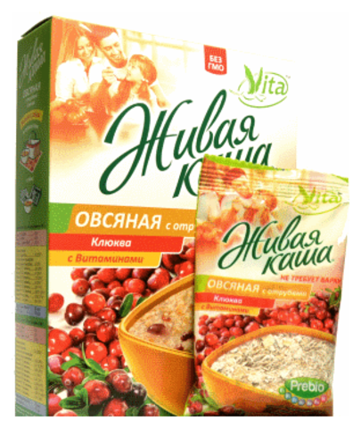 Живая каша Овсяная с отрубями (клюква с витаминами), 210 гр. (Алтайснэк)