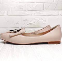 Бежевые балетки туфли без каблука Wollen G192-878-322 Light Pink.