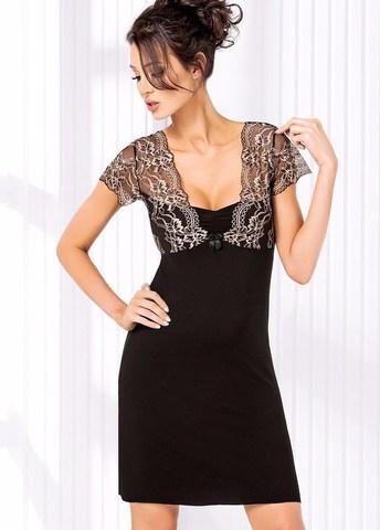 Красивое ночное платье с кружевными плечиками Gloria черное