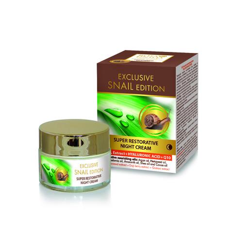Восстанавливающий ночной крем для лица с экстрактом улитки и гиалуроном, 50 мл.