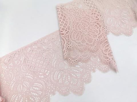 Кружево шантильи, 26см, светло-розовый, (Арт: SK-1015), купон (2,95м)