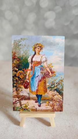 Девушка с кувшином и цветами