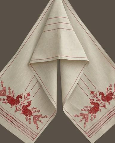 Свадебное полотенце - рушник с мережкой и птицами