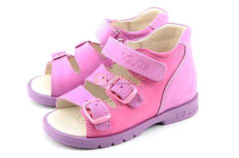 Босоножки Тотто из натуральной кожи с открытым носом для девочек, цвет сирень розовый. Изображение 6 из 12.