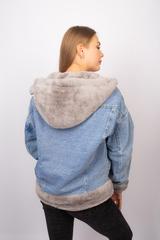 Джинсовая куртка женская с мехом и капюшоном недорого