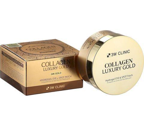 Гидрогелевые патчи с коллагеном и коллоидным золотом 3W CLINIC Collagen Luxury Gold Hydrogel Eye & S
