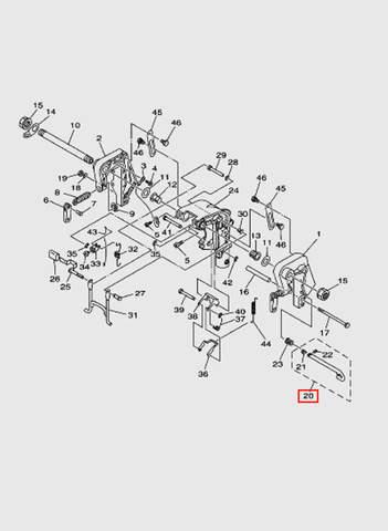 Шток угла дифферента  для лодочного мотора T15, OTH 9,9 SEA-PRO (13-20)