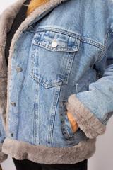 Джинсовая куртка женская с мехом и капюшоном шоурум