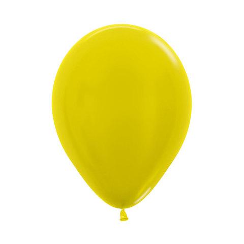 Латексный воздушный шар, цвет желтый металлик
