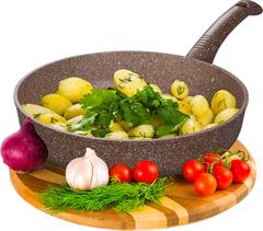 Сковорода глубокая 24 см ГРАНИТ (браун-браун) без крышки (10) DECO-DARIIS HUR-A-109 ВВ