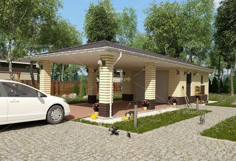 Проект гаража на две машины с навесом