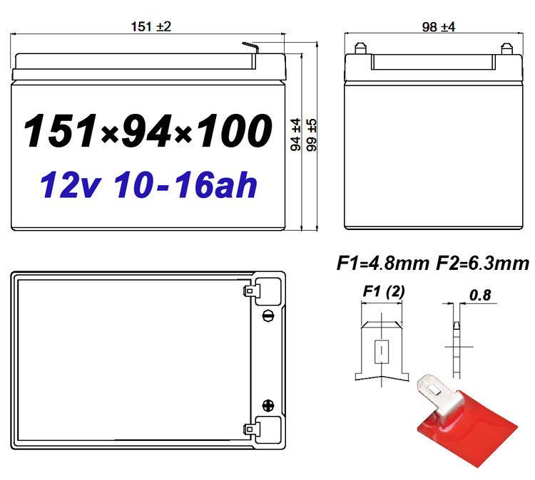 Размеры герметичного свинцово-кислотного аккумулятора на 12 АЧ