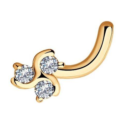 1060007 - Пирсинг в нос клевер из золота с бриллиантами