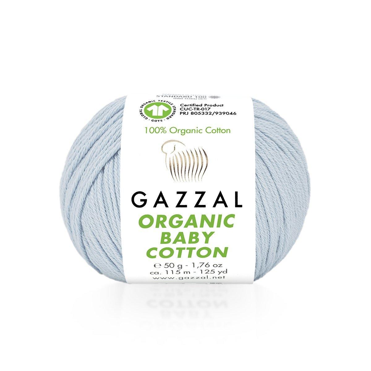 Пряжа Gazzal Organic Baby Cotton 417 нежно-голубой