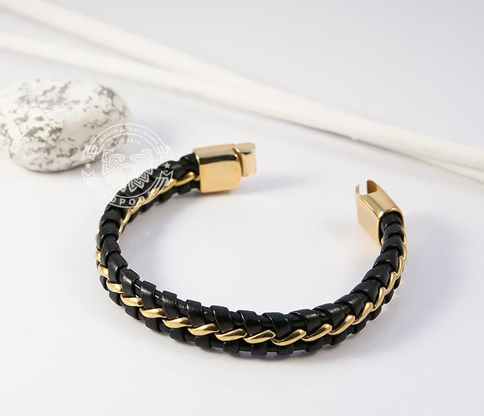BM380 Мужской браслет из золотистой стали и кожи на магнитной застежке (18 см) фото 03