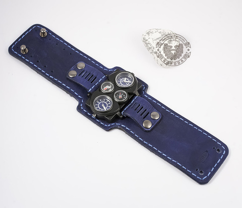 WLS140 Широкий браслет для часов из натуральной кожи