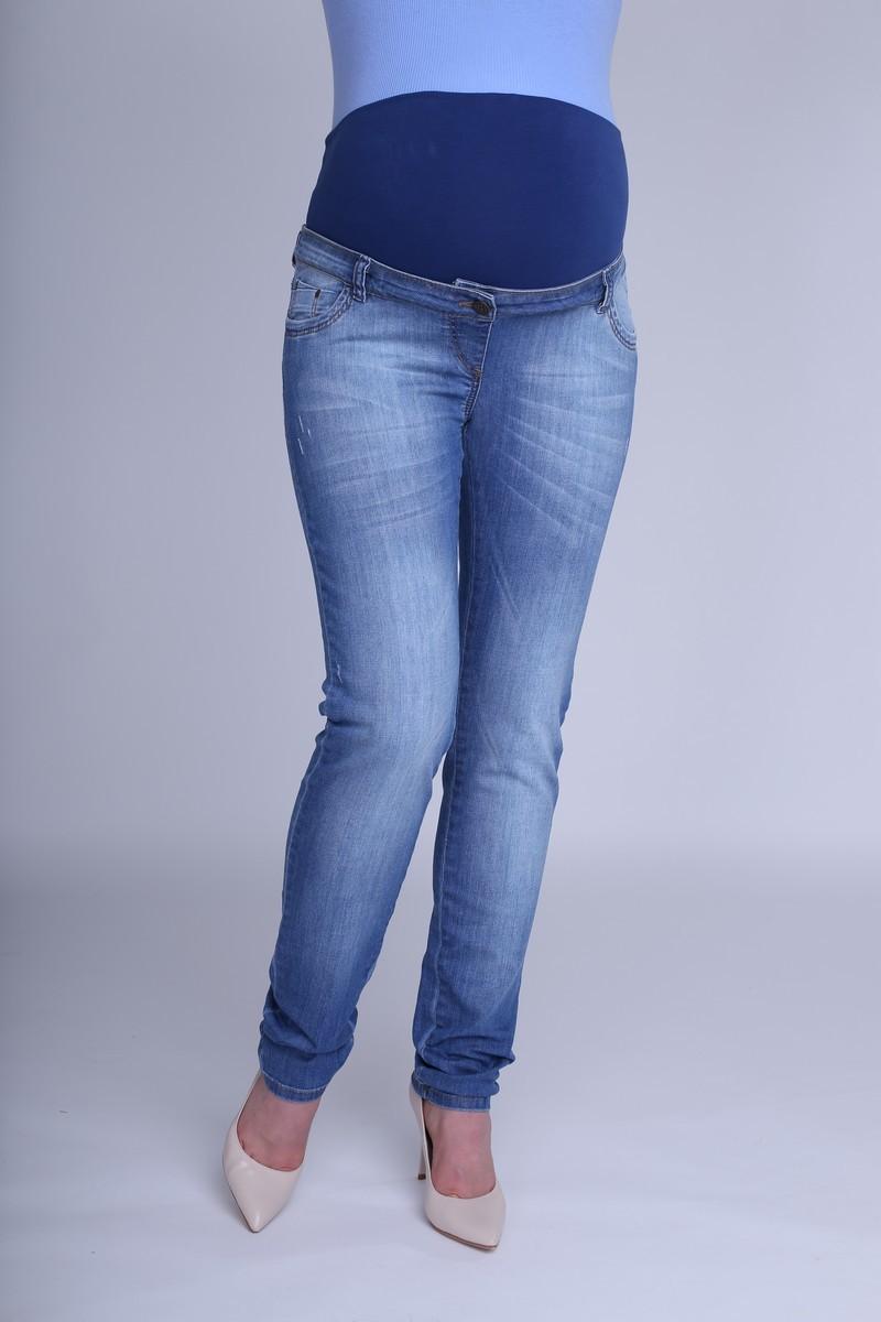 Фото джинсы для беременных MAMA`S FANTASY, зауженные, потертости, высокая посадка от магазина СкороМама, синий, размеры.