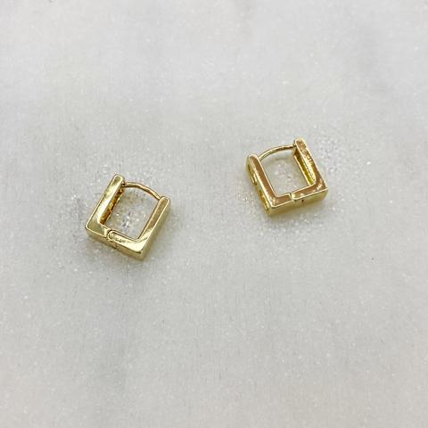 Серьги мини-конго квадратные 1 см (золотистый)