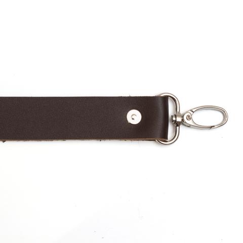 Ручка кожаная с карабинами темно-коричневая 3мм
