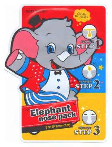 Baviphat Urban Dollkiss 3-STEP Elephant Nose Pack патчи для носа от черных точек