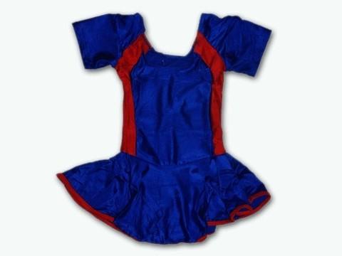 Купальник гимнастический модельный с юбкой. Состав: полиэстер. Размер ХL. Цвет: сине-красный. :(2008):