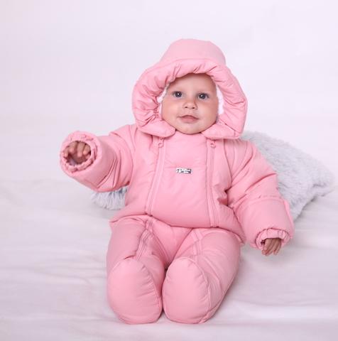 Зимний комбинезон для новорождённых Зимушка розовый