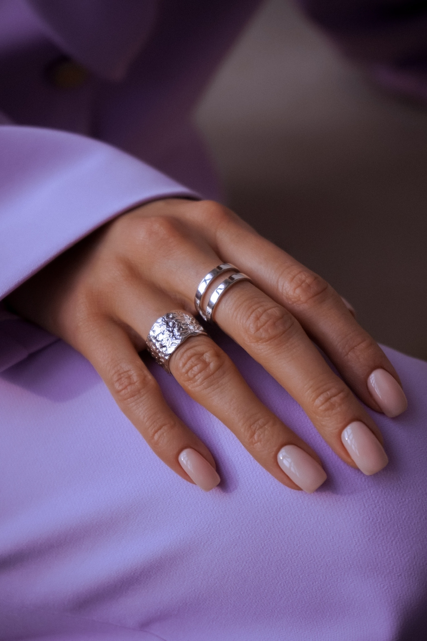 Серебряное двойное кольцо