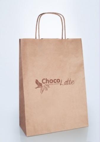Пакет бумажный с крученными ручками/ крафт 33*24*10 TM ChocoLatte
