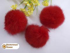 Помпоны кролик 6 см красные