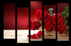 """Модульная картина """"Букет из красных роз"""""""