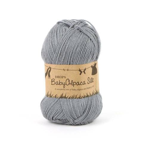 Пряжа Drops Baby Alpaca Silk 8465 серый