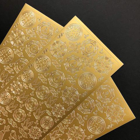 Контурные наклейки Штурвалы, золото
