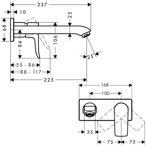 Смеситель для раковины настенный излив 225 мм Hansgrohe Metris,   31086000 схема