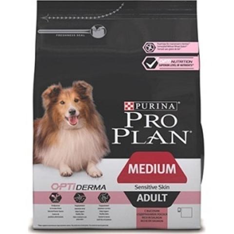 Pro Plan Optiderma сухой корм для собак средних пород с чувствительной кожей с лососем