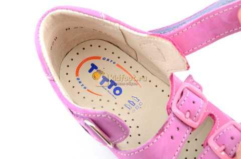 Босоножки Тотто из натуральной кожи с открытым носом для девочек, цвет сирень розовый. Изображение 12 из 12.