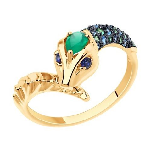 715857 - Кольцо Змея  из золота с миксом камней