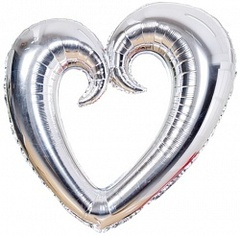 F Сердце Фигурное Металлик серебряный 36