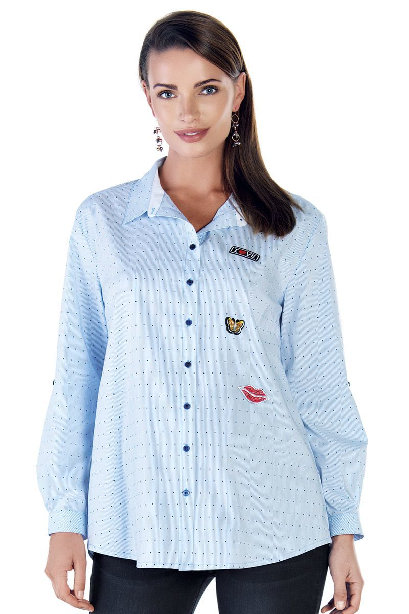 Блузка для беременных 09106 голубой