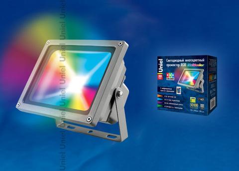 ULF-S01-30W/RGB/RC IP65 110-240В Прожектор светодиодный с пультом ДУ. Мультиколор. Корпус серый. Упаковка картон. TM Uniel.