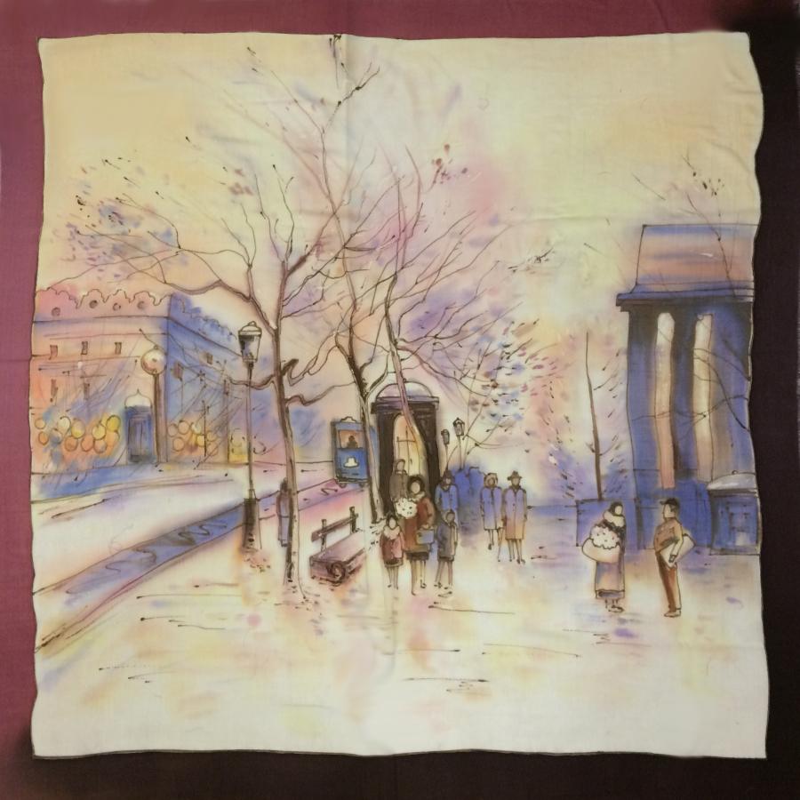 Шерстяной платок батик Зимний Город на рассвете C-77-sh