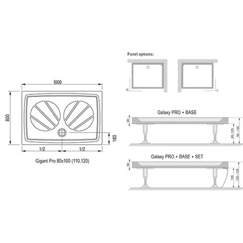 Душевой поддон Ravak Gigant Pro 100x80 белый XA03A401010 схема