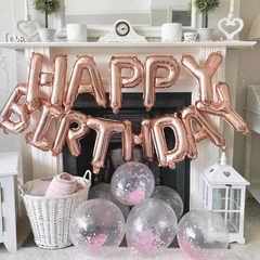Фольгированная надпись Happy Birthday розовое золотоjpg