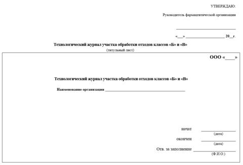 Технологический журнал участка обработки отходов классов Б и В