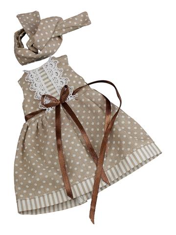 Платье летнее - Бежевый. Одежда для кукол, пупсов и мягких игрушек.
