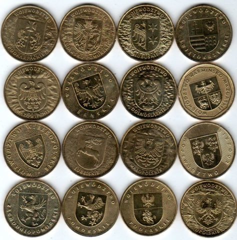 Набор из 16 монет. Воеводства. Польша. 2004-2005 гг. UNC + альбом Fisher