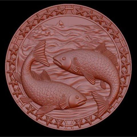 Силиконовый молд № медальон  Рыбы