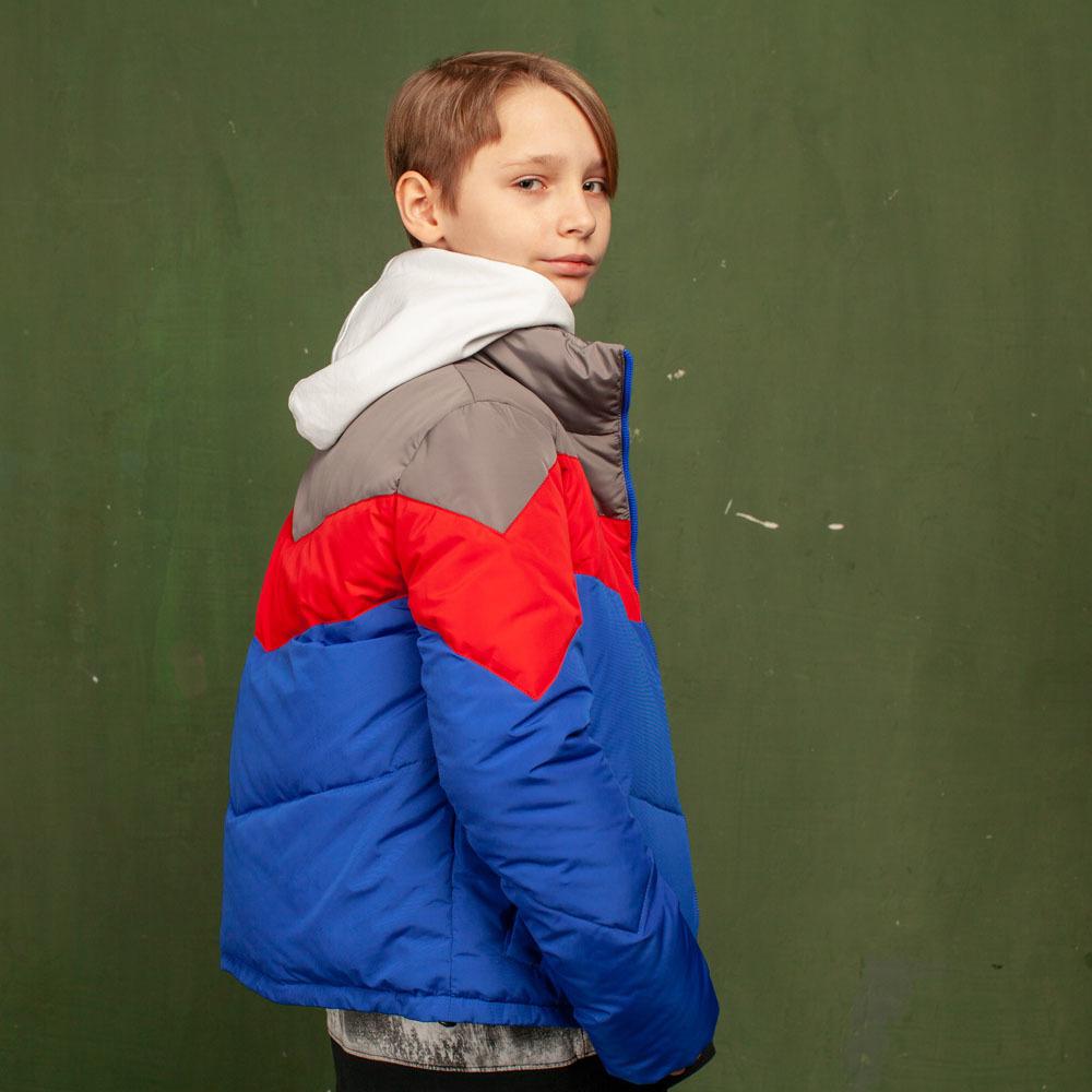 Дитяча демісезонна синя куртка з водовідштовхувальної плащової тканини