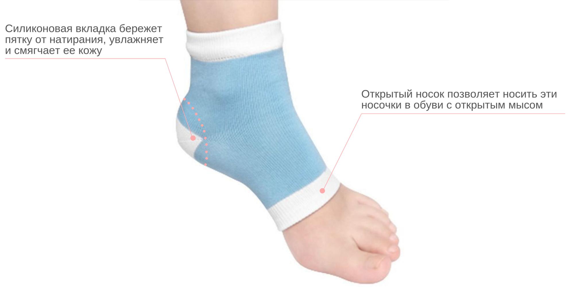 Увлажняющие носочки с гелевой защитой пятки