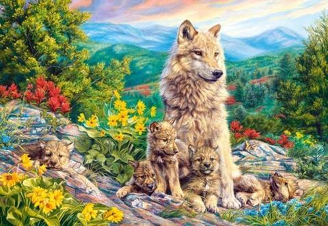 Алмазная Мозаика 40x50 Волчица с волчатами на природе (арт. GA73994 )