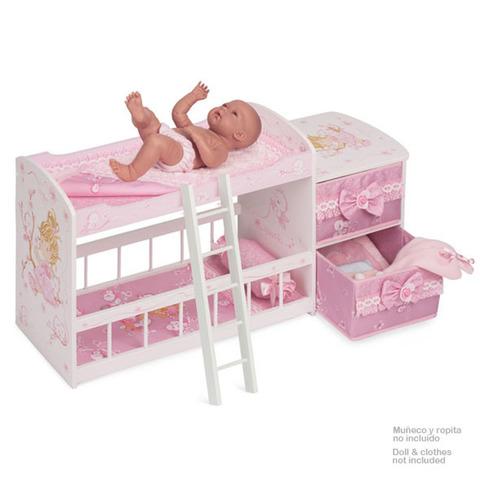 Кроватка для куклы двухъярусная серии Мария, 80 см (DeCuevas, 54323)